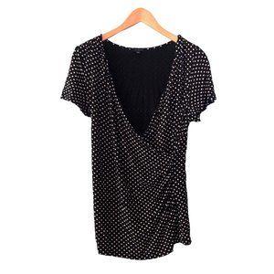 Black White Polka Dot Knit Top Wrap Style V-Neck